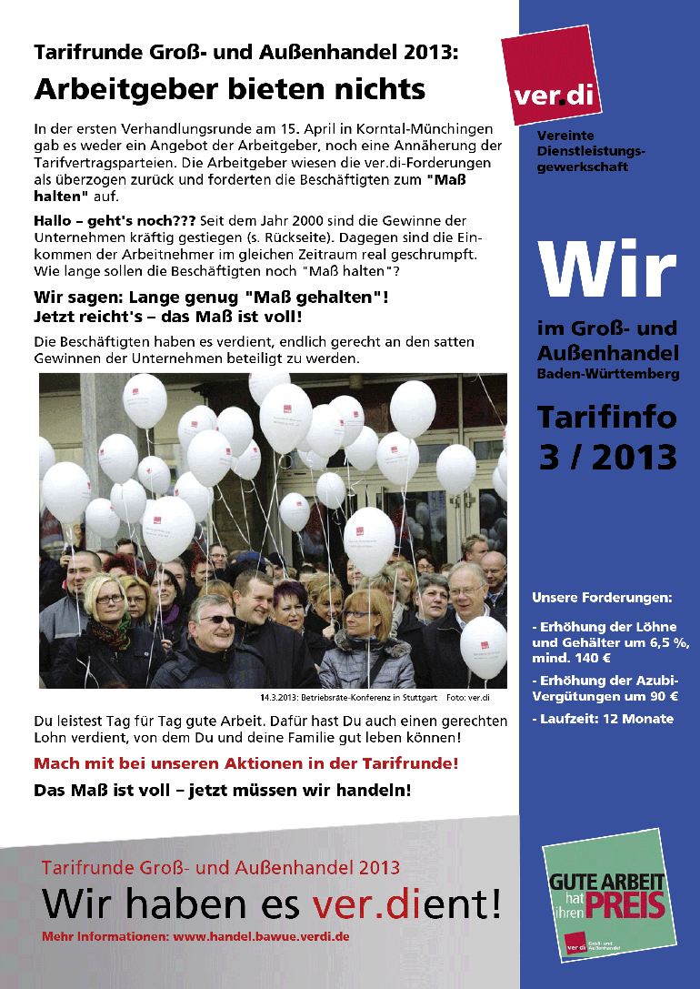 Tarifinfo (03/2013): Arbeitgeber bieten nichts