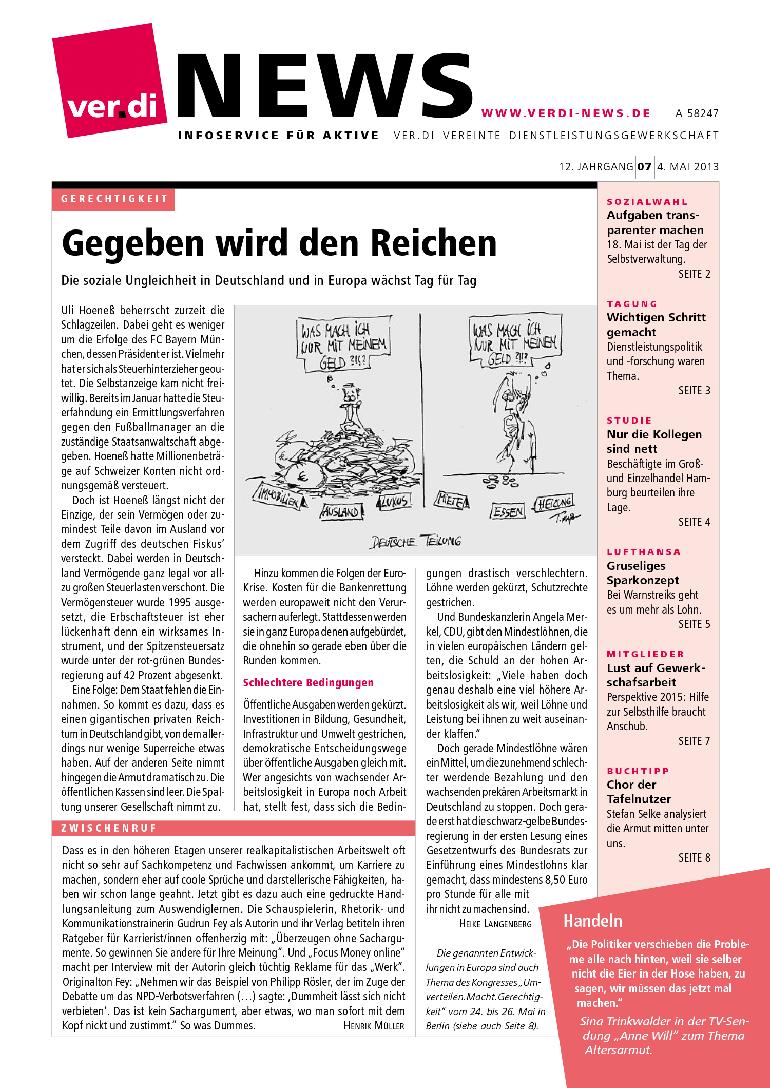 Gegeben wird den Reichen ver.di News (07/2013)