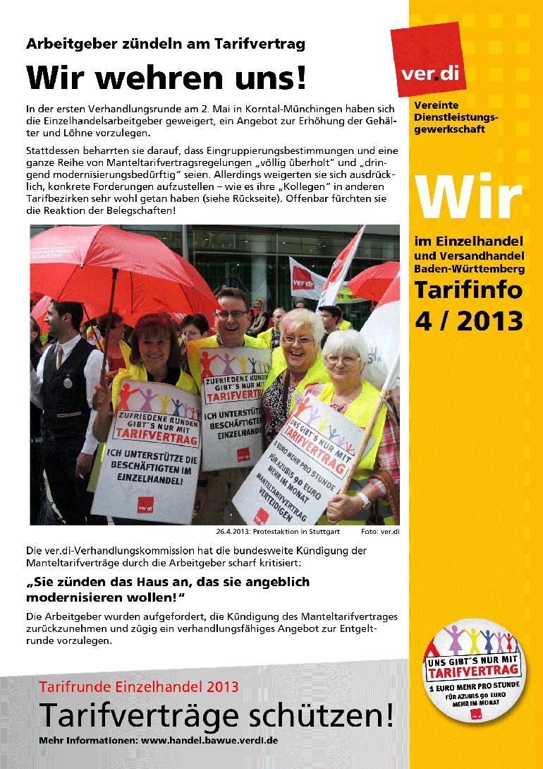 Tarifinfo (04/2013): Wir wehren uns!