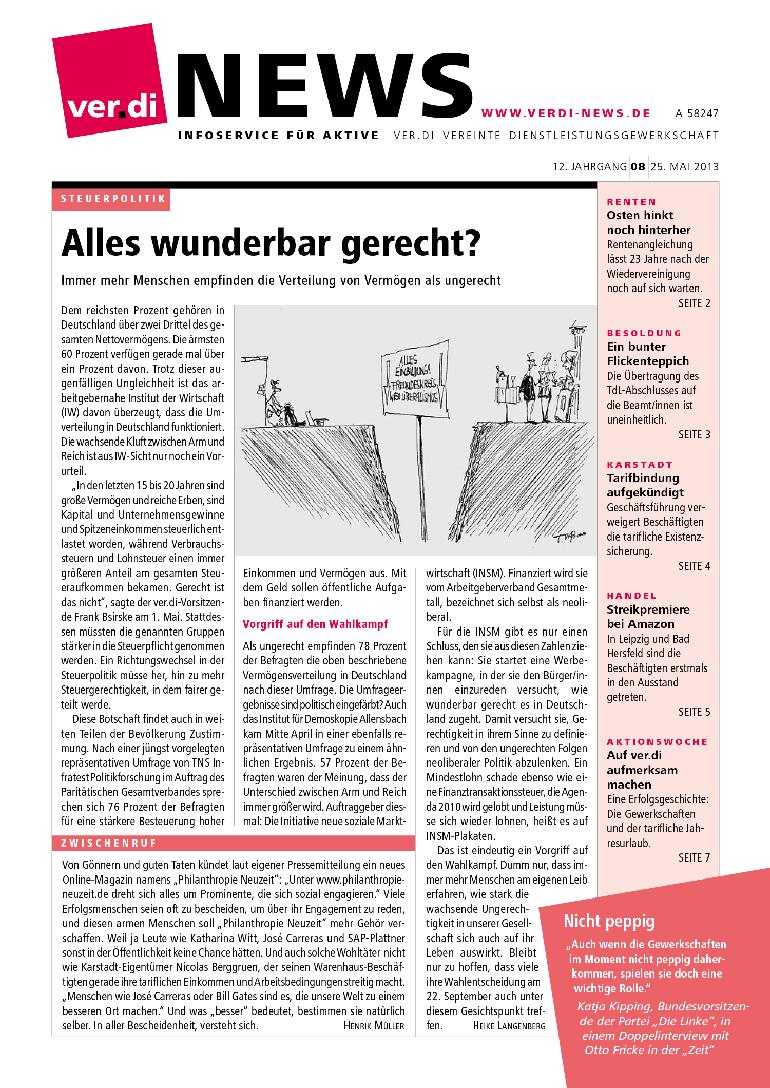ver.di News (08/2013): Alles wunderbar gerecht?