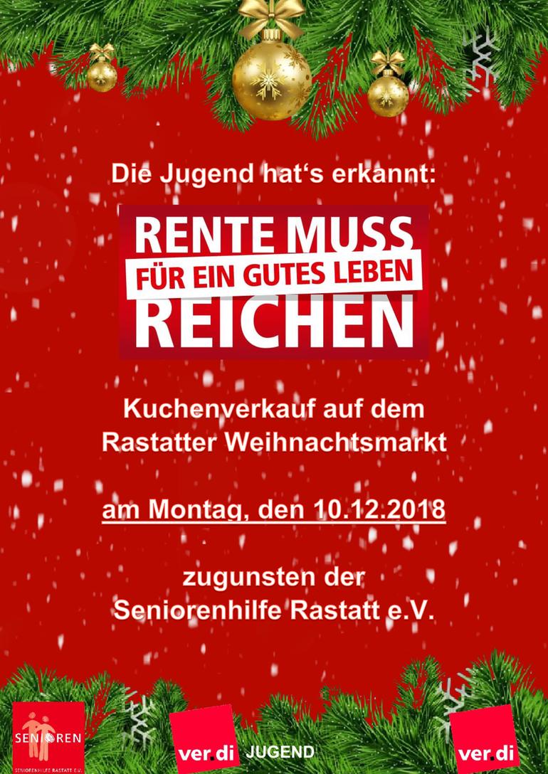 Kuchenverkauf zugunsten der Seniorenhilfe Rastatt e.V. am 10.12.2018 auf dem Rastatter Weihnachtsmarkt