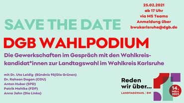 Landtagswahl BaWü 2021: DGB Wahlpodium